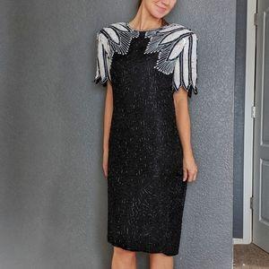 Vintage Silk Stenay Beaded Party Dress